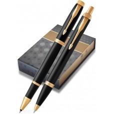 Набор с чехлом: Ручка роллер и Шариковая ручка Parker IM Core Black GT