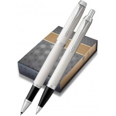 Набор с чехлом: Ручка роллер и Шариковая ручка Parker IM Core White CT
