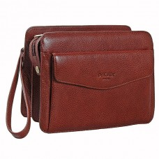 Коричневая кожаная сумка-визитка со съемным ремешком Dr.koffer B402152-02-05